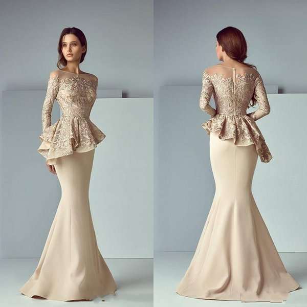 Elegant Champagne Lace Stain Peplum Long Evening Dresses 2020 Sheer Neck Long Sleeve Dubai Arabic Mermaid Prom Dress Saiid Kobeisy BA8170