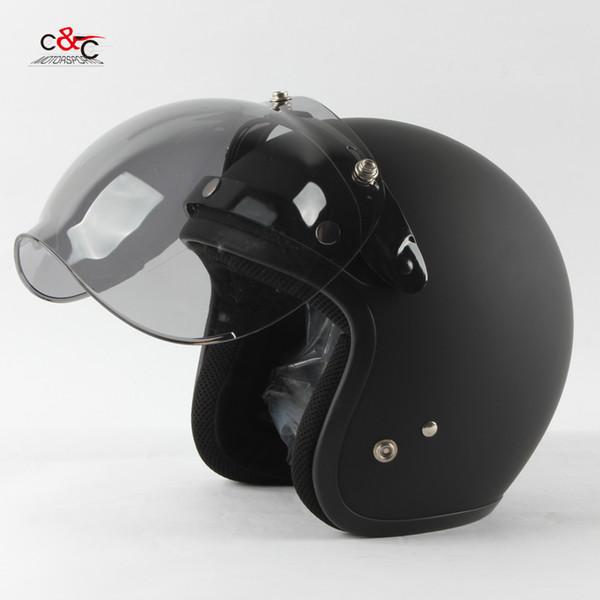 5a46f669 Wholesale- Free shipping 3-snap open face helmet visor vintage motorcycle helmet  bubble shield