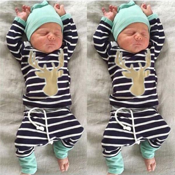 2016 heiße Verkaufskinderart und weise kleidet 3pcs Baby-Jungen-Mädchenweihnachtssätze neugeborenen Säuglingsspielanzug + gestreifte Hosen + Hut-Körper-Ausstattungs-Kleidungs-Sätze
