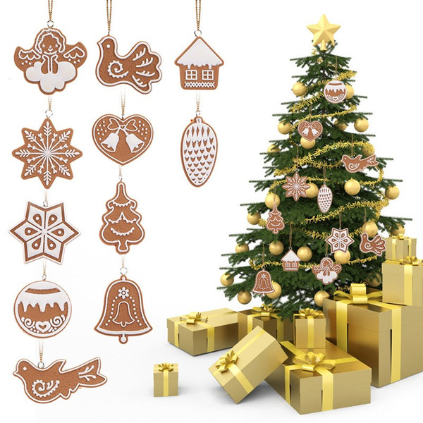 Hot 11 pcs/lot Hanging Ornament Snowflakes Decor Polymer Clay Drop Pendants Christmas Tree Baubles Decoration Enfeites Ornaments Set 100set
