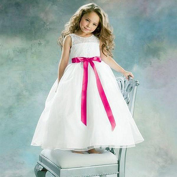 20167 Little White Flower Girls Dresses Crew Lace Kids Wedding ...