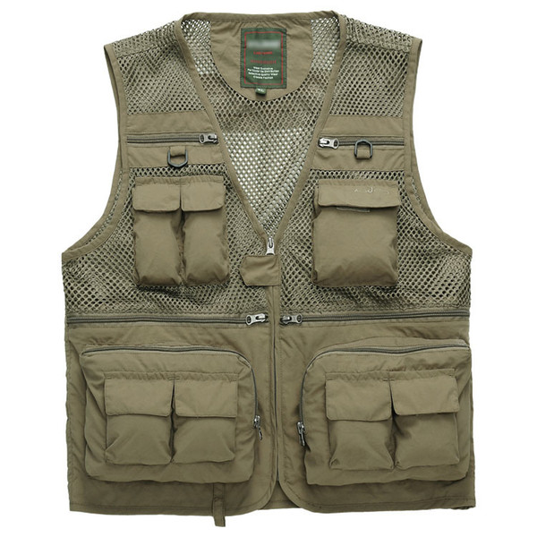 top popular Wholesale- 2014 Spring New Men's bags Vest Multi-pocket clothes thin section Mesh Photography Waistcoat Wholesale 2020