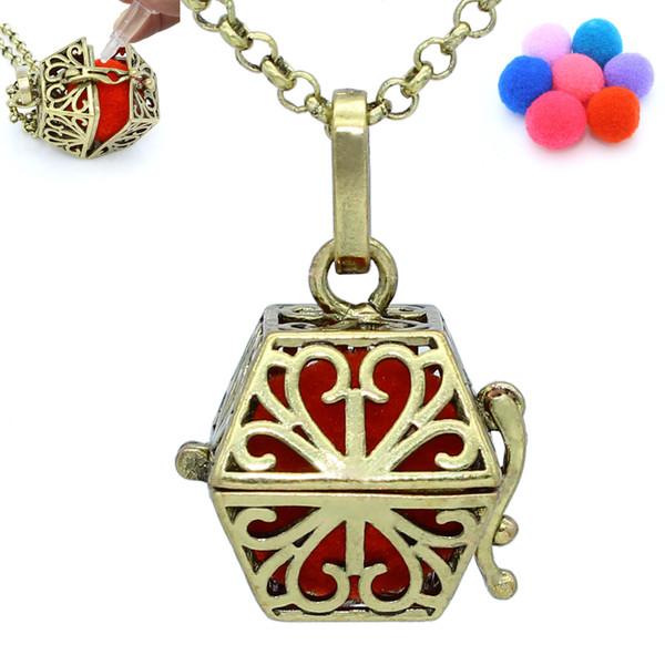 Antique Bronze Flower Hollow Magic Box Locket Aromatherapy Pendant Essential Oil Diffuser Necklace Jewelry + 7pcs Pompons