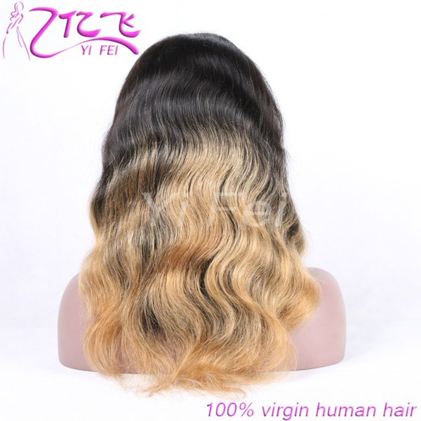 Ombre Color 1b/27 Body Remy Brazilian Full Lace Human Hair Wigs Pre Plucked Natural Hairline Two Tone Lace Front Wigs