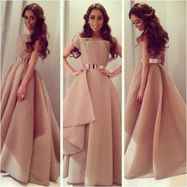 Arabic Design Satin Scalloped Long Prom Dresses With Golden Belt Floor-length Party Gowns Pageant Evening Dress
