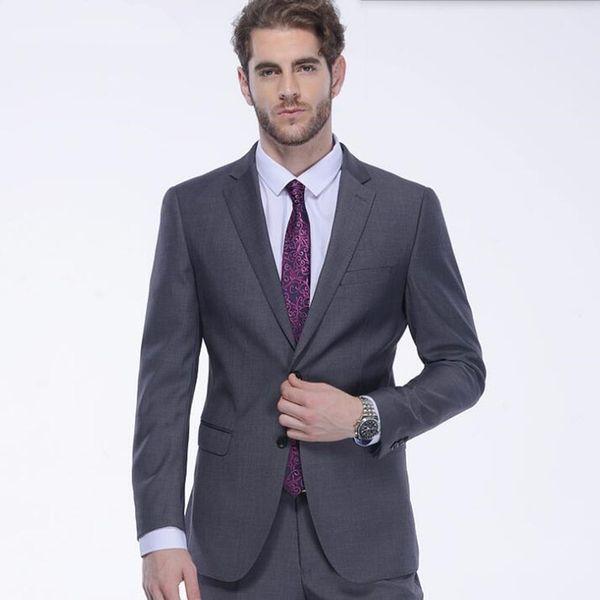Gray men suits slim fit men's wedding suits tuxedos tailor made groom groomsman prom feast dress suits(jacket+pants)