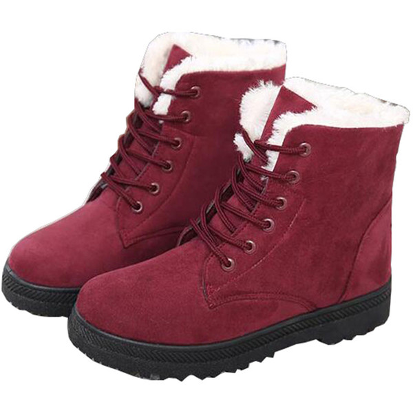 Women winter warm snow boots girls casual waterproof lace-up ankle boots classic outdoor flat tall boots for women size 35-44 free shiping