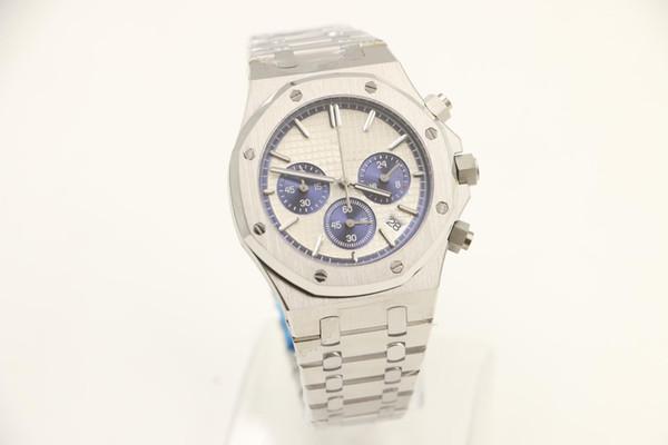 New shelves Men luxury wrist brand table quartz Japanese movement sapphire Original buckle AAAP Royal Offshore White dial blue Wristwatch