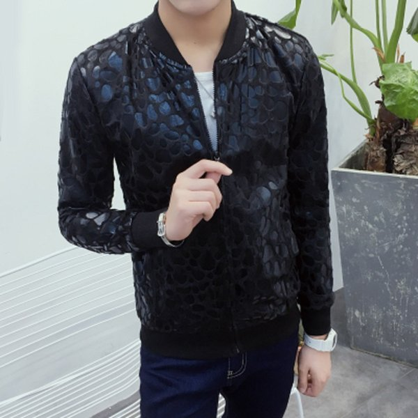 Großhandels- Neue 2016 Herbst dünne Leopard print Leder kausalen Jacke Männer koreanische Mode Männer Jacke Slim Fit Veste Homme Männer Kleidung / JK4