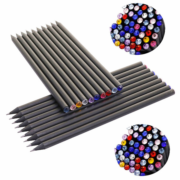 best selling 10Pcs lot Pencil Hb Diamond Color Pencil Stationery Items Drawing Supplies Cute Pencils For School Basswood Office School Cute
