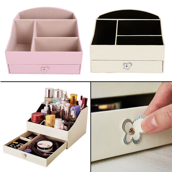 Haute qualité PU bijoux en cuir boîte organisateur femmes cosmétiques boîtes de rangement avec tiroir (rose, blanc)