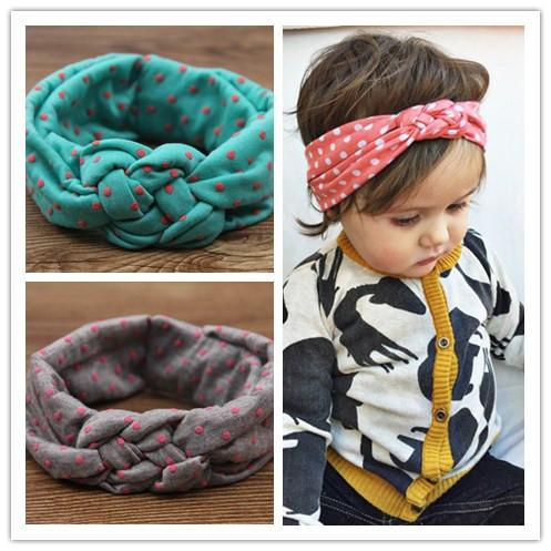 Wholesale- baby girls dot braided top knot twisted turban headband elastic for hair head bands wraps headbands accessories turbante wraps