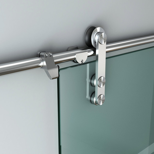 best selling DIYHD 5ft-10ft Easy install stainless steel brushed sliding glass barn door track hardware for studs wall