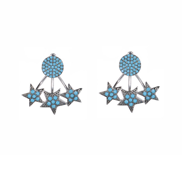 KIVN Fashion Jewelry Pave CZ Cubic zirconia Star Stud Bridal Wedding Earring Jackets for Women Party Christmas valentine gift