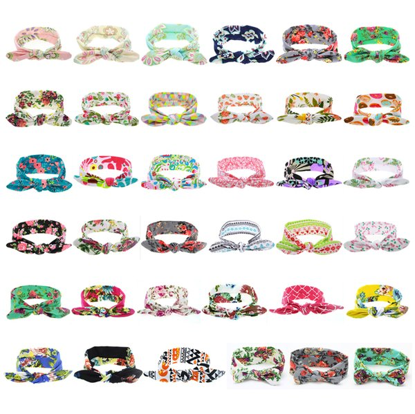 best selling 36 Colors Baby Headbands Flower Cotton Bands Girls Turban Twisted Knot Bunny Ear Floral Children Kids Hair Accessories Plaid Headwear KHA316