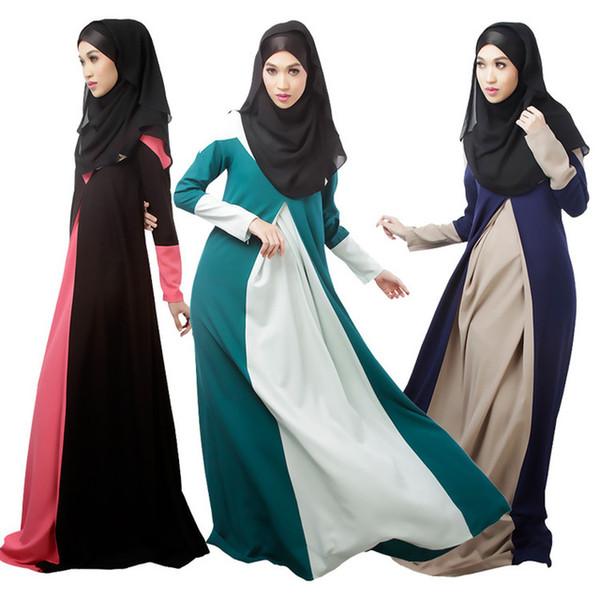 2017 Nueva ropa para mujer musulmana de manga larga O-cuello Vestidos de moda palabra de longitud elegante suelta étnica Kaftan islámico vestido Abaya
