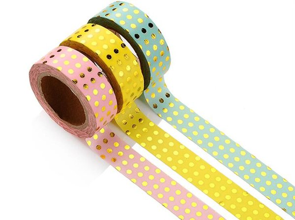 Wholesale- 2016 Single-sided Tape Christmas Decor Golden Foil Washi Paper Tape Green ,Pink or Yellow Background Golden Dot Washi Paper Tap