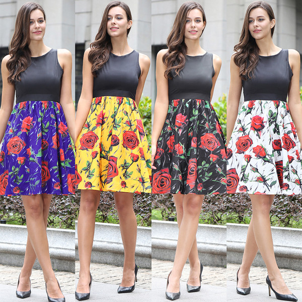 Casual Pleated A Line Dresses Summer Crew Neck Sleeveless Patchwork Vintage Rose Print Dress Women's Clothing