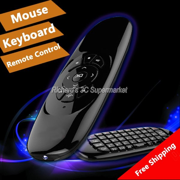 Wholesale- Gyroscope Fly Air Mouse C120 Wireless Game Keyboard Android Remote Controller Rechargeable 2.4Ghz Keyboard for Smart Tv Mini PC