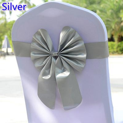 Silver colour chair sash butterfly style bow tie stretch sash lycra band spandex chair cover sash for weddings wholesale