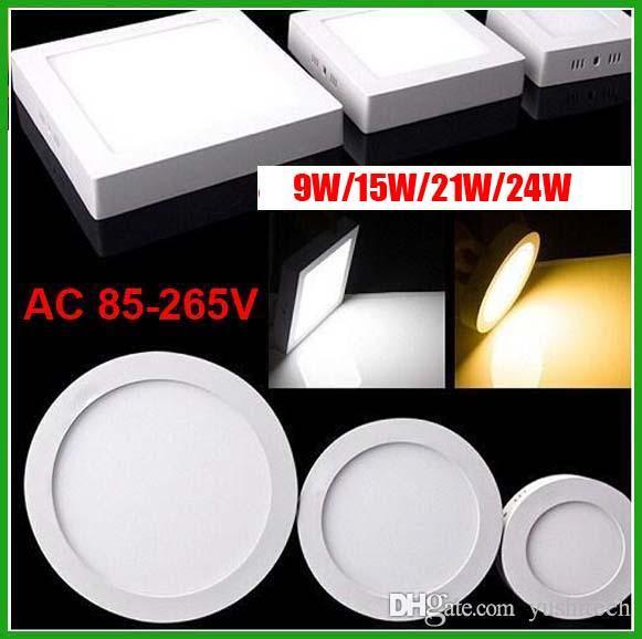 DHL Ücretsiz Sıva Üstü Dim LED Panel Işıklar SMD 2835 9 W 15 W 21 W 24 W Yüksek Güç 85-265V LED Aydınlatma Sürücüyle Sıcak Downlight