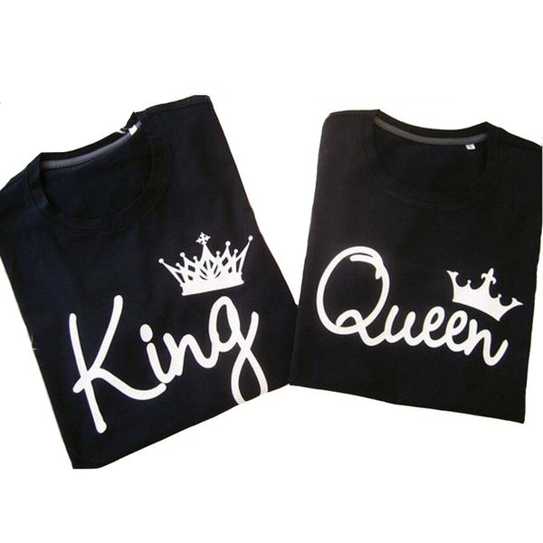1b78df85c8 2017 King Queen Imperial Crown Printed Couple T Shirt Summer Shorts Sleeve  Black Lovers Tee Femme