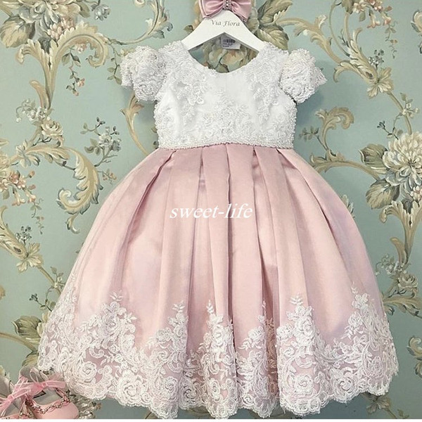 Милое дитя первого причастия платье кружева бисером жемчуг с крышкой рукавом плиссированные бант свадебные платья для девочек-цветочниц 2020