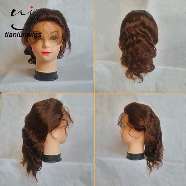 8 pouces # 4 couleur 100% naturel indien humain cheveux courts vague de corps pleine perruque de lacet perruques de cheveux humains avant de lacet