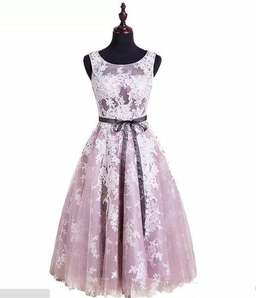 Light Pink Lace Jewel Sleeveless Black waist decoration Organza Knee-Length Evening Prom Homecoming Dresses 2017 New Arrival