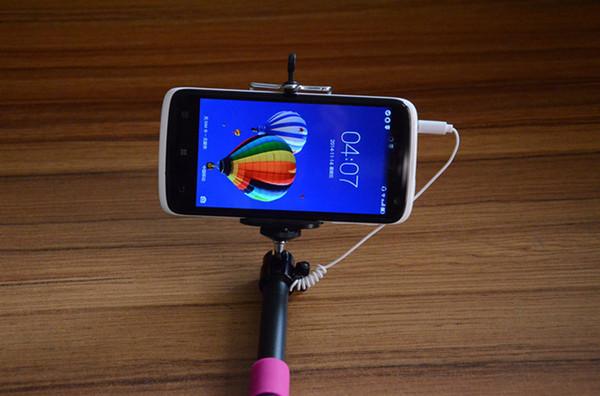 250pcs / lot # Selfie De poche Monopod Titulaire De Bâton 3.5mm Filaire Télécommande Bouton Extensible Tenir Tenue pour Téléphone Mobile 0001