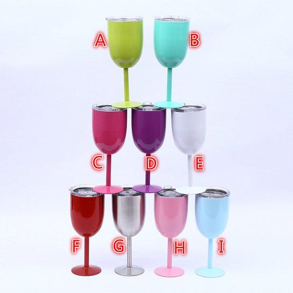10 oz Şarap Gözlük Paslanmaz Çelik Yeni 9 renkler Vakum Çift katmanlı termo bardak Drinkware Şarap Gözlük Tumbler Kırmızı Şarap Kupalar Ücretsiz Kargo