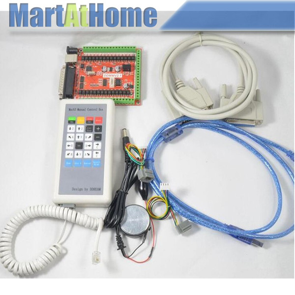 Free Shipping CNC 6 Axis USB LPT Mach3 Breakout Board Kit w/ Manual Control Box for Controlling Stepper Motor #SM706 @CF