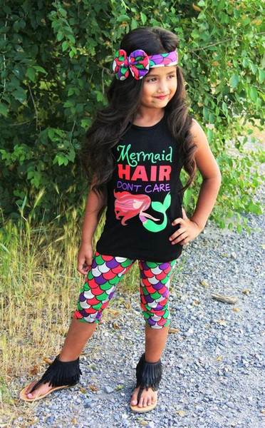 hot 3PCS girl's cotton Toddler Kids Baby Girls T-shirt+Pants+Headband Outfits mermaid hair don't care funny words printed Set Clothes 1-6Y