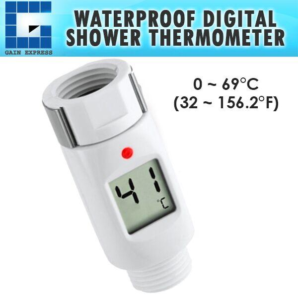 03100 Waterproof Digital Shower Head Water Thermometer with Alarm Alert LED Light