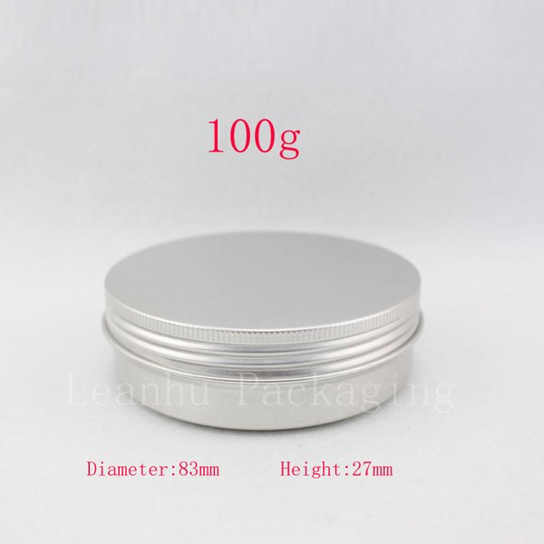 Empty cosmetic container,100g X 50 aluminum jar with screw lid ,3.5oz metal bottle for cream , ointment, storage ,candle can