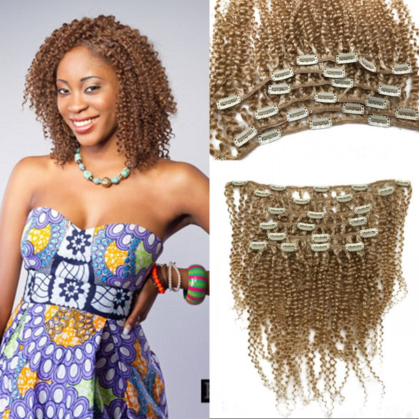 Full Head Set Clip In Hair Extensions #613 Afro Kinky Curly Russian Light Blonde Clips In 100% Human Hair FDSHINE