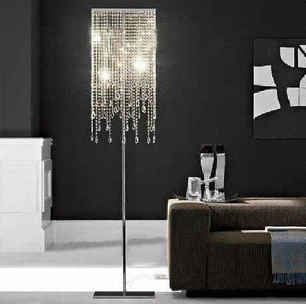 High quality oblong rectangular glass square crystal floor lamp LED bulb optional square crystal floor light