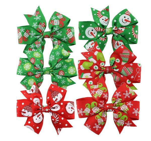 3 inch Baby Bow Hair Clips Christmas Grosgrain Ribbon Bows WITH Clip Snow Baby Girl Pinwheel Hairpins Xmas Hair Pin Accessories