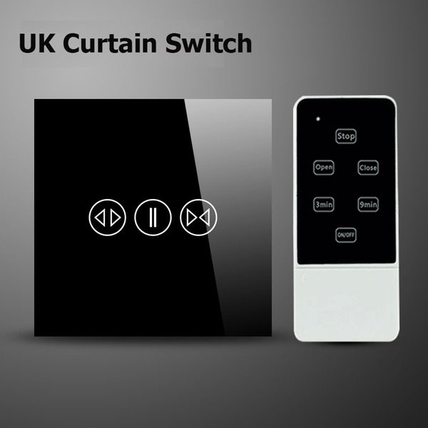 Wholesale-UK Wireless Curtain Switches Overload Protect Crystal Tempered Glass Panel AC110-240V LED Indicator,Control By Broadlink Switch