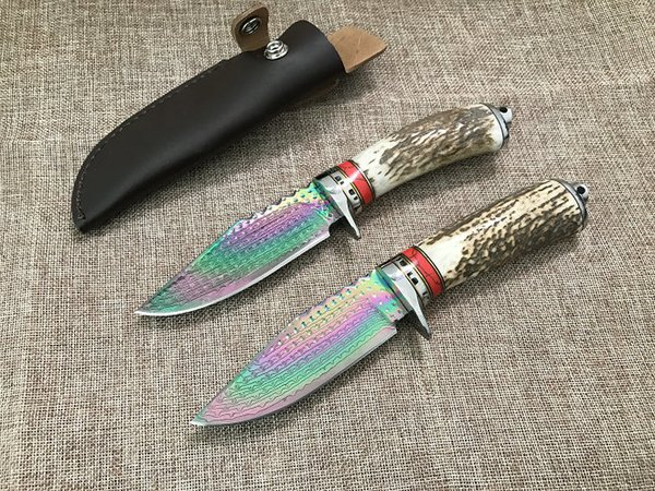 High Quality Damascus Fixed Blade Hunting Knife Antler Handle Outdoor Camping Fishing Survival Straight Knife with Leather Sheath