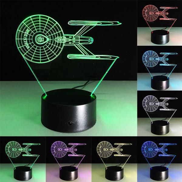 3D Illusion Star Trek NCC 1701 Night Light Colorfull Mood Lamp LED Light USB Decorative Table Lamp