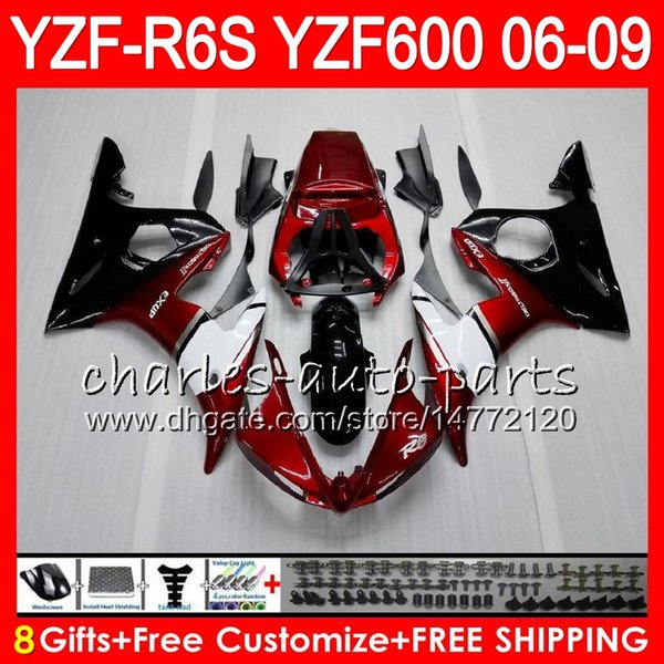 8Gifts 23Color Body For YAMAHA YZF600 YZFR6S 06 07 08 09 57HM5 Pearl red YZF R6 S YZF 600 YZF-R6S YZF R6S 2006 2007 2008 2009 Fairing kit