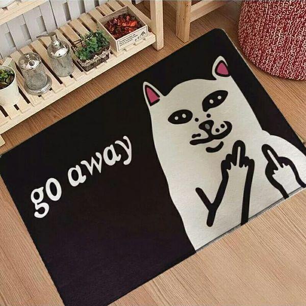 Katze mit Mittelfinger Türmatten Coral Velvet Teppich Humorous Lustige Worte gehen weg Eingang Indoor Bodenmatte rutschfeste Fußmatte Teppich