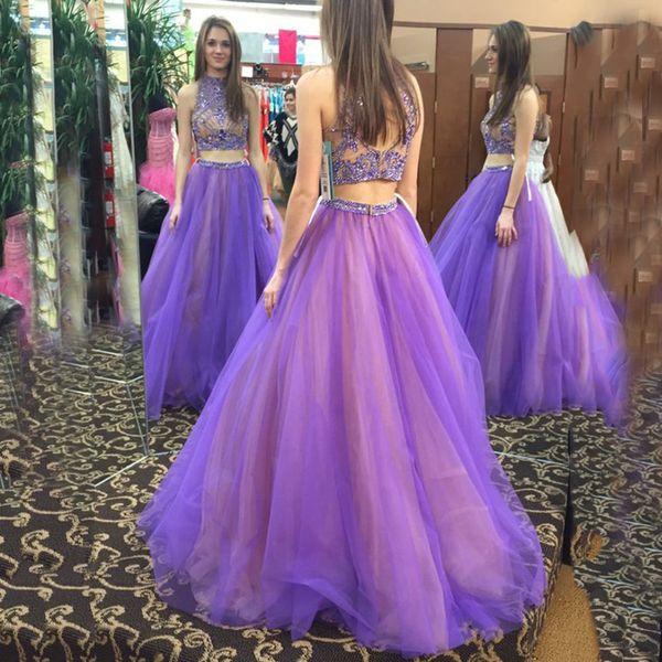 Großhandel Blingbling Purple Zweiteiler Prom Kleider 2017 High Neck ...