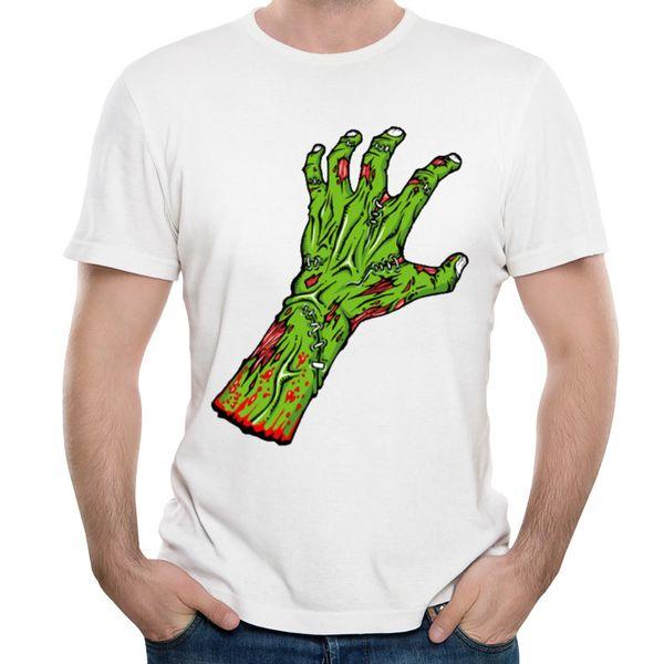Wholesale discount T-shirt green zombie hand 3D horror print shirt Halloween hip-hop style shirt 100% cotton youth male T-shirts