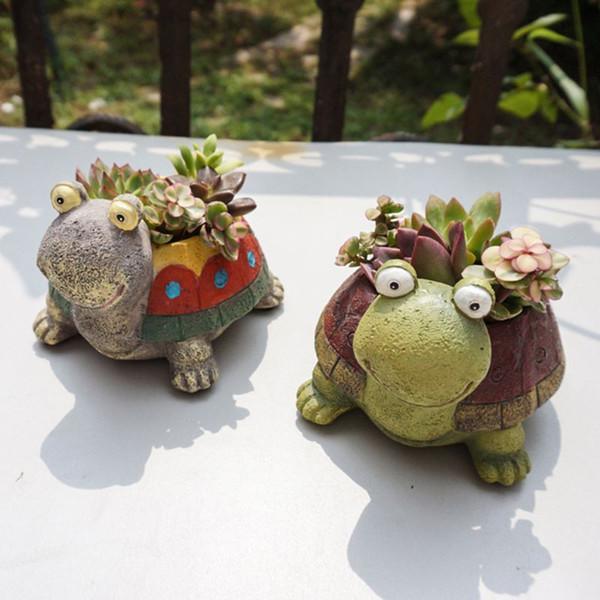 1pc Lovely Cartoon Turtle Resin Succulent Plants Pot Decorative Flower Pot Home Garden Decor Desktop Decorative Ornament Vase 80