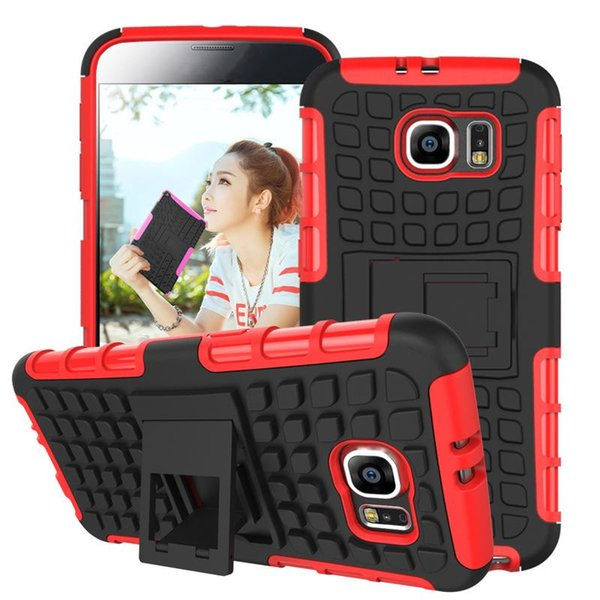 2 in 1 Cell Phone Protective Cover Dual Layer Hybrid Armor Soft Silicone Hard Back Case For Samsung Galaxy S6 Case G9200