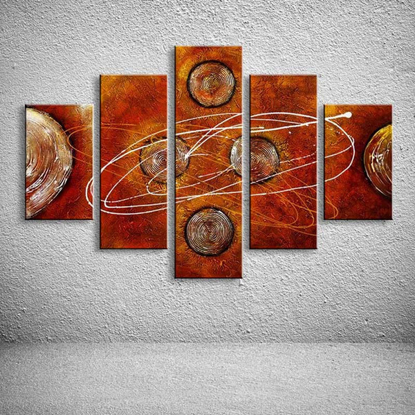 Huge 5 Panel Wall Pictures Hand Painted Abstract Geometric Oil Painting Graffiti Line Canvas Art Acrylic Paintings Home Decor