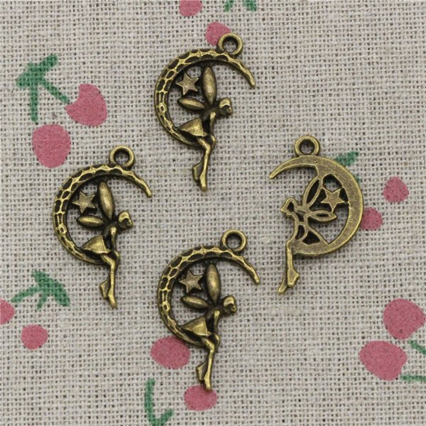114pcs Charms fairy angel moon star 25*14mm Antique Bronze Vintage Pendants For Jewelry Making DIY Bracelet Necklace