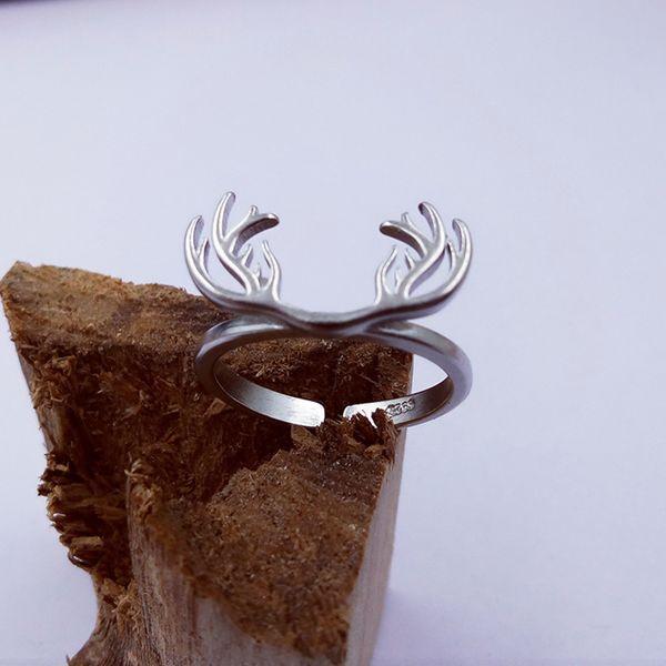 Wholesale Fashion New Men's Jewelry Zinc Alloy Punk Style Antlers DesignRetro Ring Animal Opened Adjustable Finger Ring for Man
